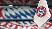 Das Logo von FC Bayern München auf einer Fahne © picture alliance/Sven Hoppe/dpa Foto: Sven Hoppe
