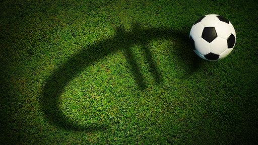 Ein Fußball liegt auf auf einem Stück Rasen, auf dem ein Euro-Zeichen als Schatten zu sehen ist.