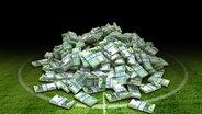 Geldbündel liegen auf einem Fußballplatz. © Phantermedia/maxxyustas, fotolia/jarma