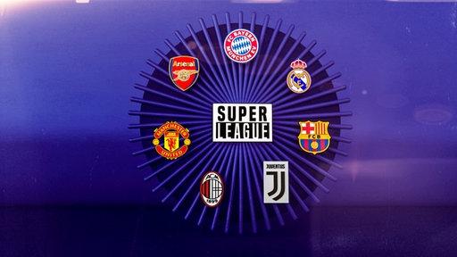 """Ein Kreis mit sieben Vereinslogos symbolisiert die """"Super League"""""""