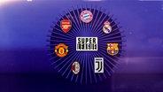 """Ein Kreis mit sieben Vereinslogos symbolisiert die """"Super League"""" © NDR"""