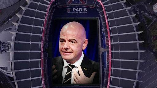 Das Stadion von Paris Saint-German und FIFA-Präsident Gianni Infantino (Bildmontage)